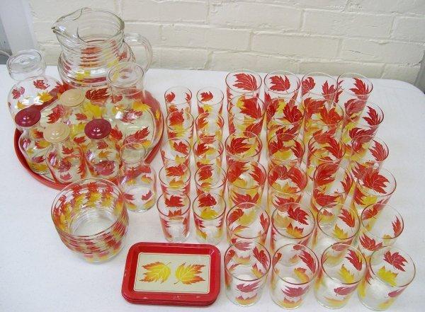 001: 62 Pc Libbey Autumn Leaf Glassware
