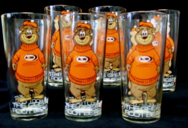 007: Set Of Six  A&W Collector Glasses W/ Bear
