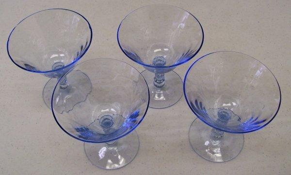 014: 4 Blue Caprice Pattern Cambridge Sherbet Glasses