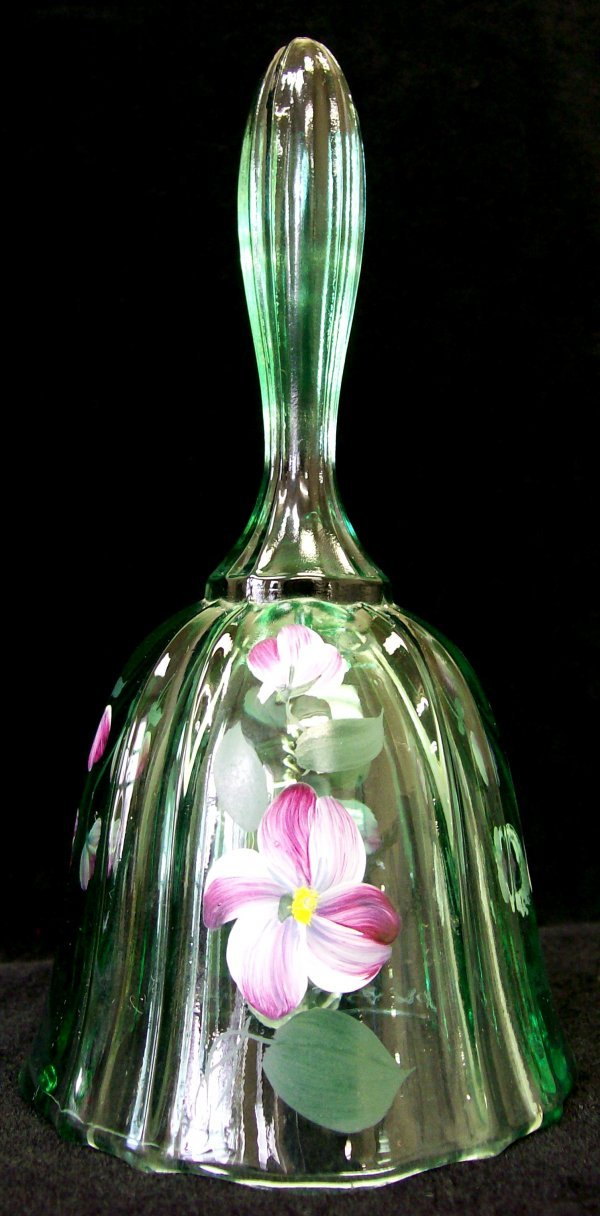 015: Hand Painted Fenton Glass Bell signed D. Yeuil