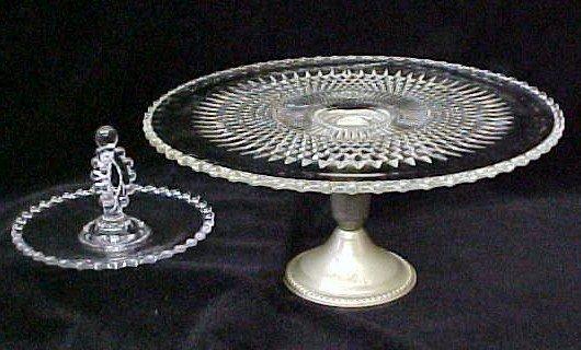 020: Candlewick Tidbit Dish & Cake Plate w/Silver Base