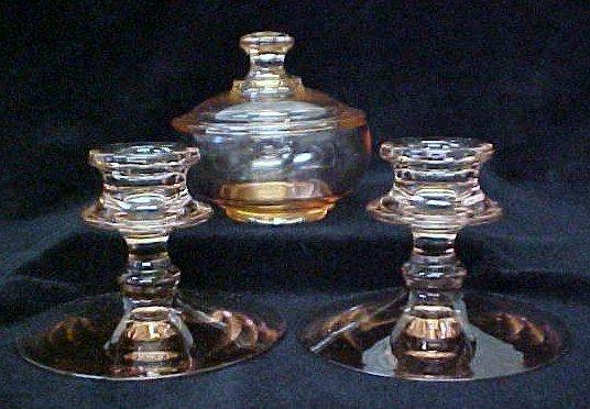 024: Pink Depression Glass Set - Dish & Candleholders
