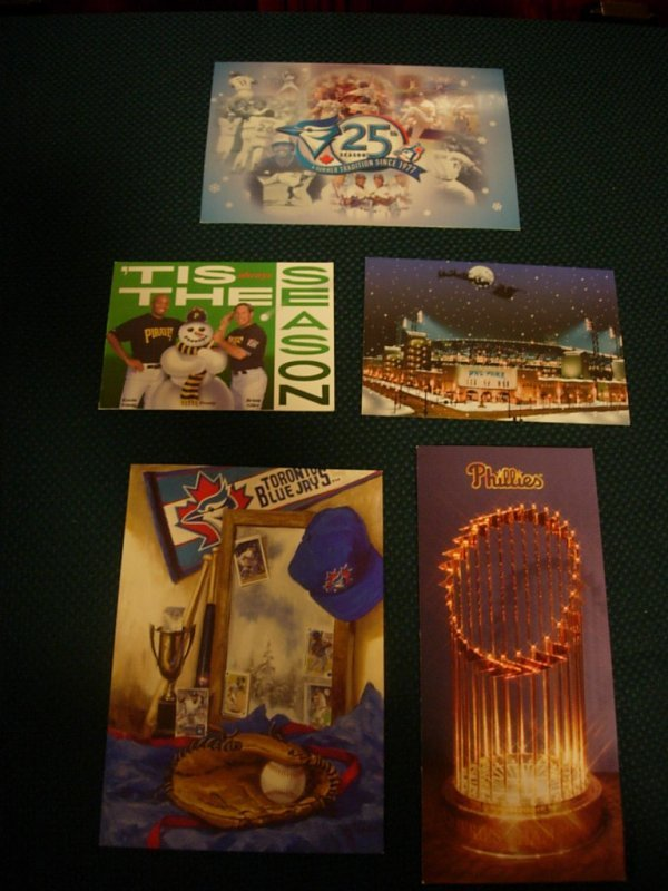 1003: 5 - Authentic Christmas Cards Sent By MLB Teams
