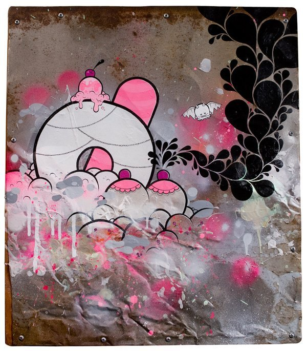 "10: BUFF MONSTER - 19"" x 21"" Acrylic & Spray Paint on F"