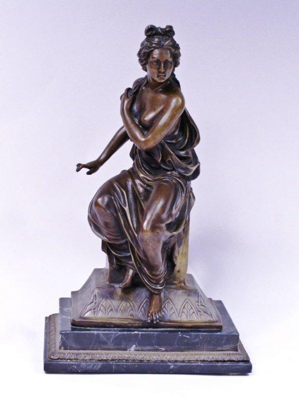 Bronze Classical Sculpture of a Woman, Signed Carpeaus