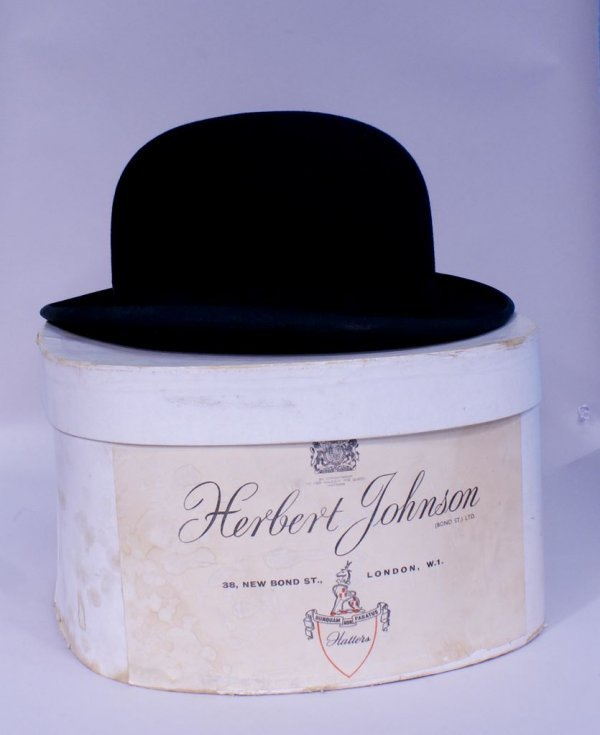 Vintage English Bowler Hat, Mint in Box, Herbert Johnso