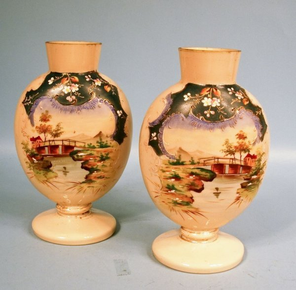 """Pair Bristol Glass Hand Painted """"Fireglow"""" Mantle Vases"""