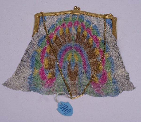 Whiting & Davis Mesh Hand Bag w/ Peacock Decoration