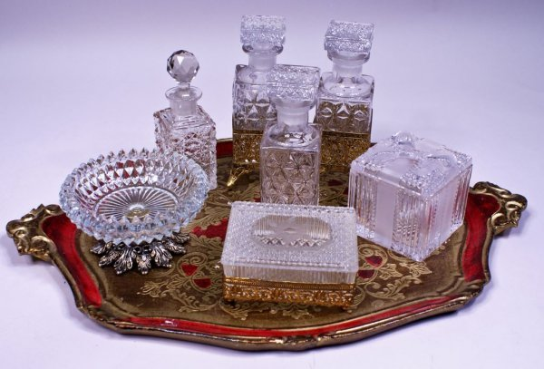 Collection of Crystal Ladies Dresser Items on a Gilt Fl