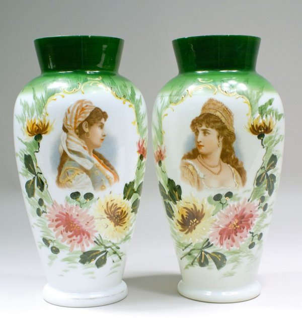 Pair of English Bristol Glass Portrait Vases