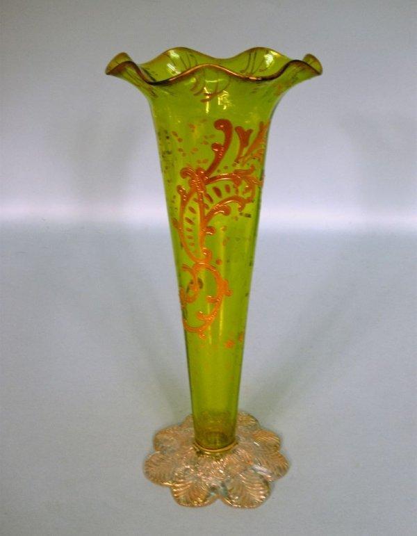 Victorian Art Glass Trumpet Vase with Gilt Decoration