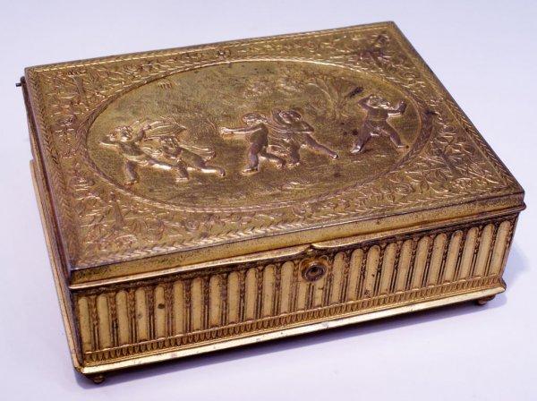 Fine Gilt Bronze Jewelry Box, Children Playing Hide-and