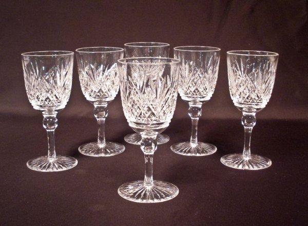 """Set of 6 """"Pineapple & Fan"""" Cut Glass Wine Stems, Signed"""