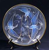 "Art Deco French Verlys Opalescent ""Birds & Fish"" Center"