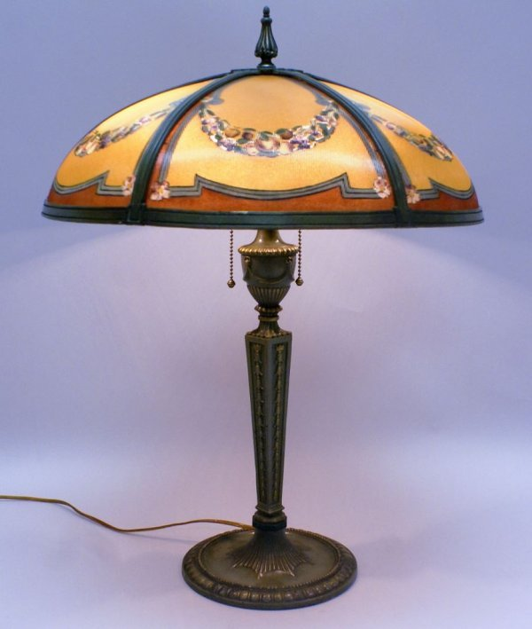 Bradley and Hubbard Reverse Painted Parlor Lamp