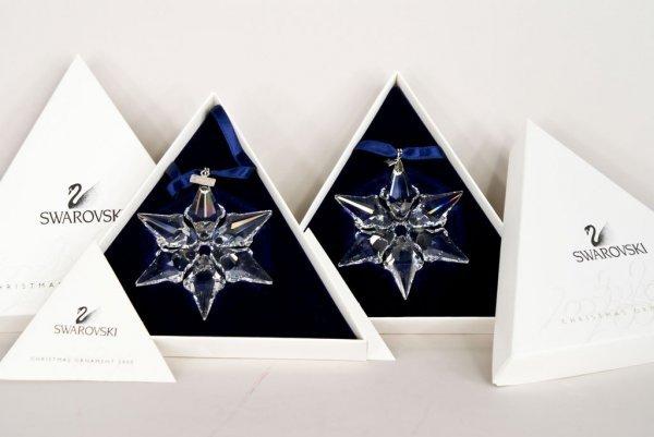 "2 Swarovski Crystal Year 2000 ""Snowflake"" Christmas Orn"