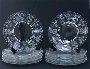 "Set of 14 Tiffin Elegant Glass ""Cherokee Rose"" Luncheon"