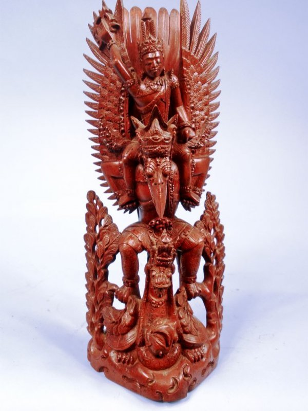 Finely Carved Balinese Sculpture of Hindu Deities:  Vis