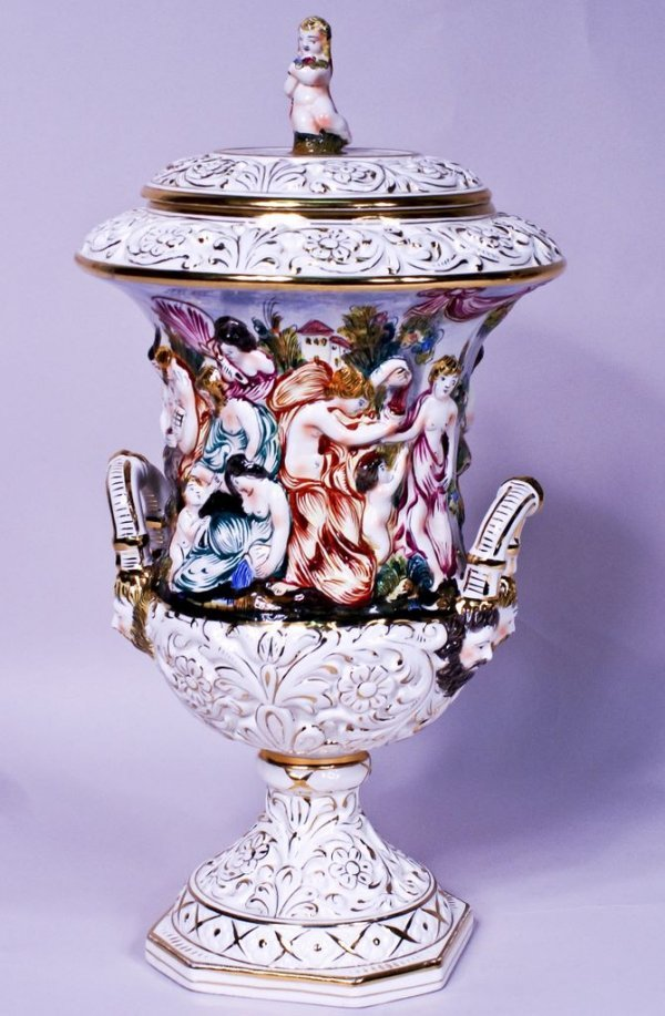 Large Bernini Capodimonte Covered Urn with Dionysian Sc