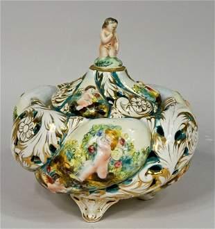 Capodimonte Potpourri Jar w/ Scenes of Cherubs