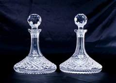 Pair of Waterford Cut Crystal Alana Ships Decanters