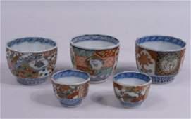 5 Japanese Imari TeaSake Cups