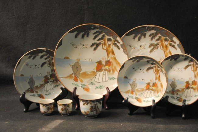Eight Japanese Bone China Kutani with Gardeners, Tortoi
