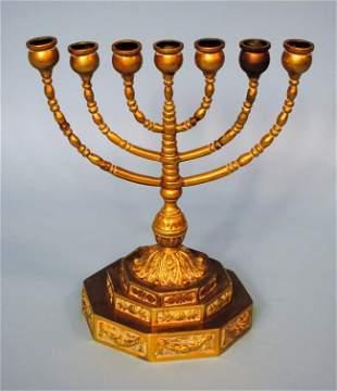 19th Century Seven Branch Brass Menorah