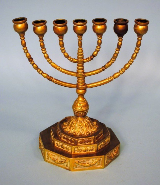 19th Century Seven Branch Brass Menorah