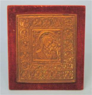 Russian Bronze Icon Of Madonna & Child and 18 Saints