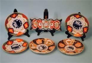 "Six Pieces of Ethnic Imari: Five ""Royal Peach"" Plates"