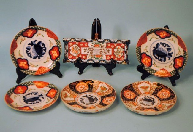 "Six Pieces of Ethnic  Imari:  Five ""Royal Peach"" Plates"
