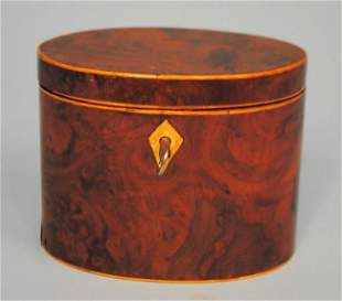English Georgian Burled Oval Tea Caddy