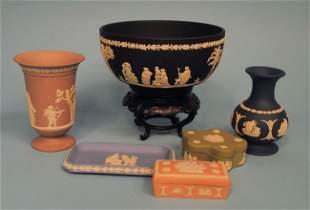 Six Pieces of Wedgwood Jasperware: Black, Cobalt, Lilac