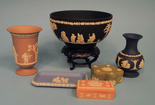 Six Pieces of Wedgwood Jasperware: Black, Cobalt, Lilac