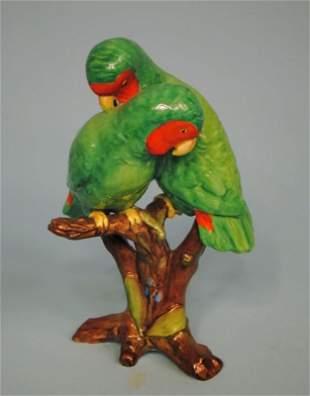 Spode Polychrome Porcelain Figurine of Two Parrots