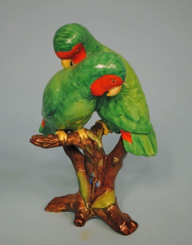Spode Polychrome Porcelain Figurine of Two Parrots