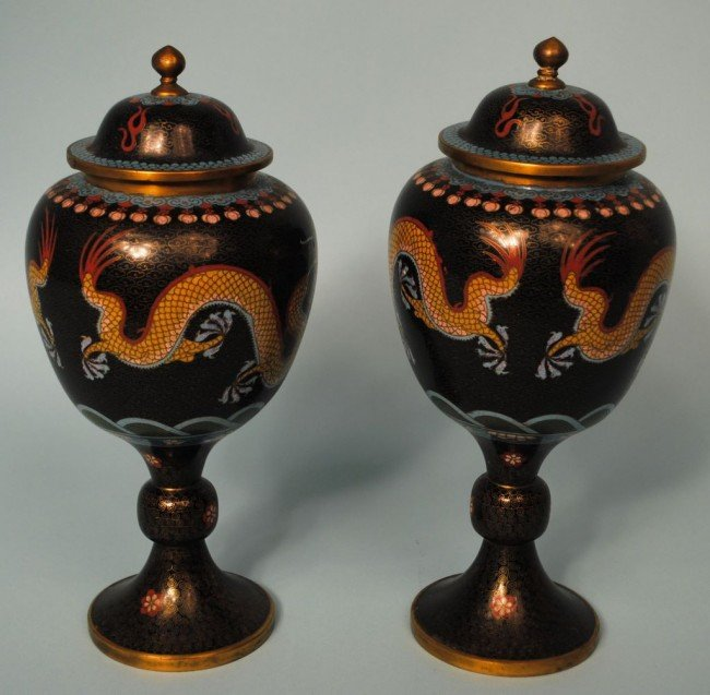 Pair of Republic Period China Covered Cloisonné Dragon