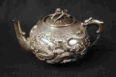c1875 Chinese Export Sterling Silver Teapot with Cast D