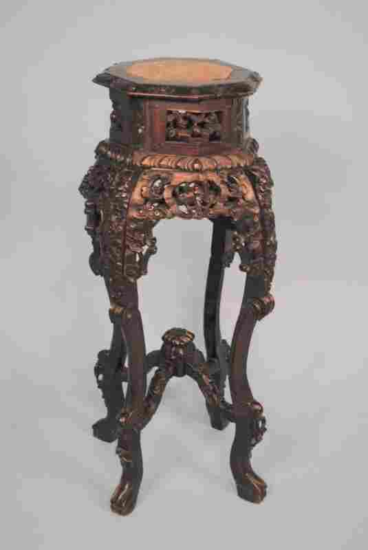 19th Century Elaborately Carved Chinese Teakwood Stand