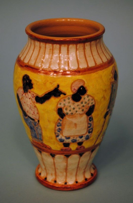 Decorated Shearwater Pottery Vase by Mac Anderson
