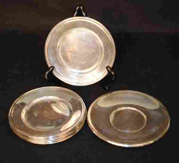 Eight Sterling Silver Plates & Sterling Liner