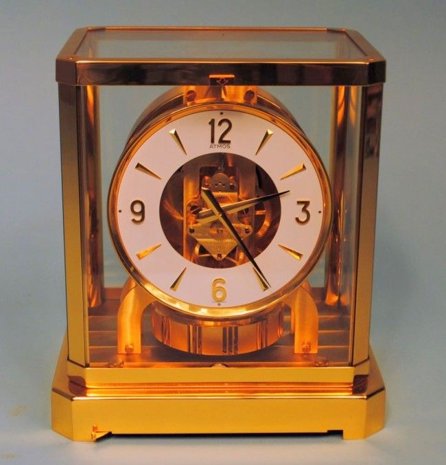 Swiss LeCoultre Atmos Brass and Glass Cased Clock