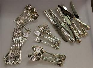 Gracious Set of Rocaille Sterling French Flatware by