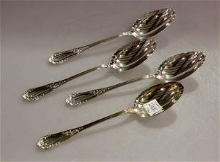 Set of Four Rocaille Sterling Silver Spoons by Erquis