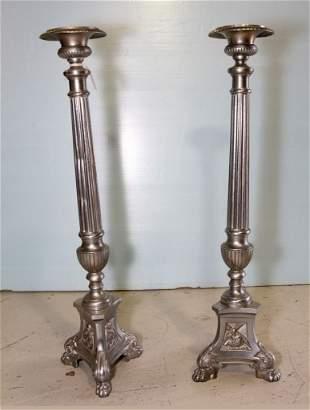 Pair of Tall Metal Candlesticks