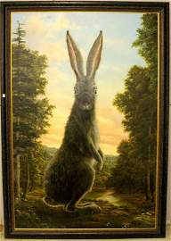"""Lepus"" Life Size Oil Painting of Rabbit Signed Robert"
