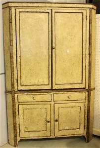 Rare 19th Century Painted Corner Cabinet
