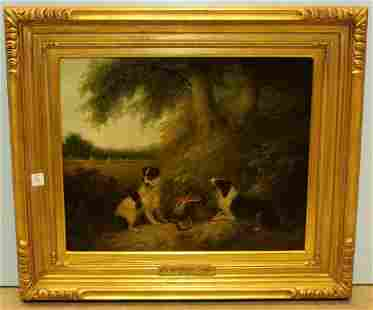 Oil on Canvas Entitled The Game Keeper's Dogs