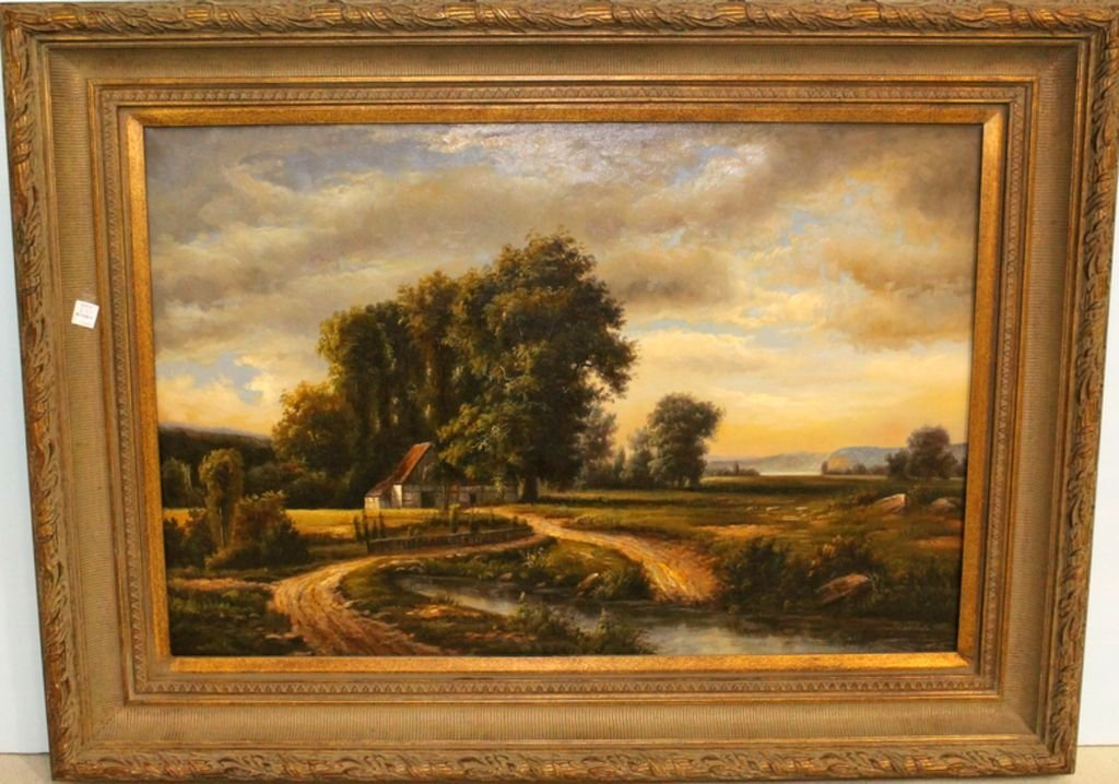 Large Landscape Oil Painting by Weller